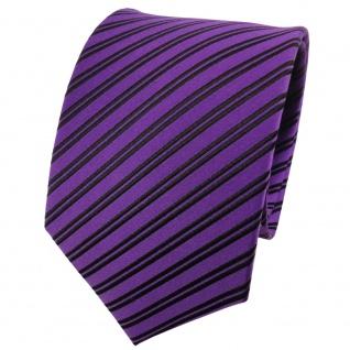 TigerTie Designer Seidenkrawatte violett schwarz gestreift - Krawatte 100% Seide