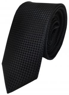 Schmale TigerTie Designer Krawatte schwarz uni gepunktet reine Seide / Silk