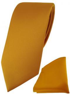 TigerTie Designer Krawatte + TigerTie Einstecktuch in gelborange einfarbig uni
