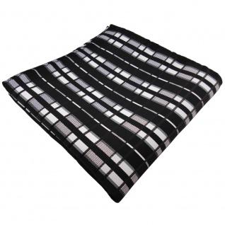 TigerTie Einstecktuch schwarz anthrazit silber grau gestreift - Tuch Polyester