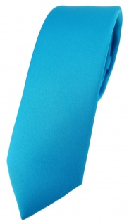 schmale TigerTie Designer Krawatte in türkisblau einfarbig Uni - Tie Schlips