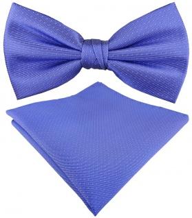 TigerTie Seidenfliege + Einstecktuch in blau silber gepunktet - 100% reine Seide