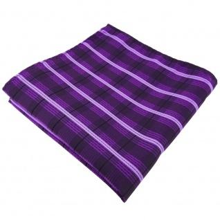 TigerTie Einstecktuch in lila violett flieder schwarz gestreift - Tuch Polyester