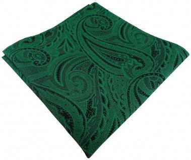 TigerTie Seideneinstecktuch in grün smaragdgrün schwarz paisley gemustert