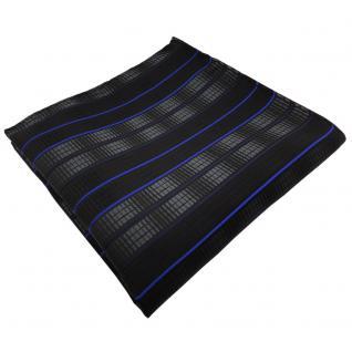 TigerTie Einstecktuch in schwarz anthrazit blau gestreift - Tuch 100% Polyester