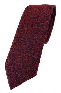 TigerTie - schmale Designer Krawatte in rot weinrot schwarz florales Muster