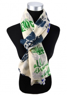 Damen Schal grün blau grau creme mit Motiv Gr. 180 cm x 105 cm - Tuch Halstuch