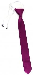 TigerTie Sicherheits Krawatte in magenta fuchsia violett einfarbig Uni Rips