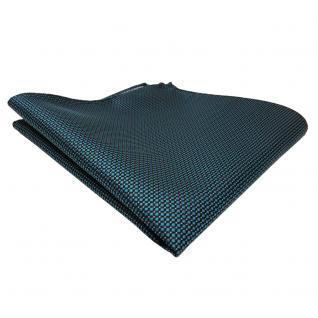 TigerTie Einstecktuch grün petrol türkis schwarz silber gepunktet-Tuch Polyester