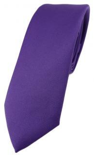 schmale TigerTie Designer Krawatte blaulila violett einfarbig Uni - Tie Schlips