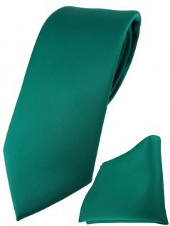 TigerTie Designer Krawatte + TigerTie Einstecktuch in petrolgrün einfarbig uni