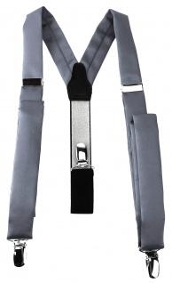 schmaler TigerTie Unisex Hosenträger mit 3 extra starken Clips - in silber Uni