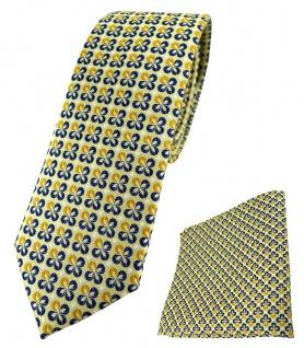 schmale TigerTie Krawatte + Einstecktuch in gelbgold silber marine gemustert