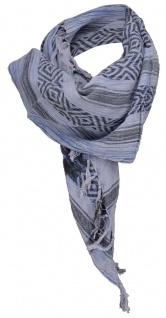 Halstuch blau grau schwarz gemustert -Fransen an zwei Seiten -Gr. 100 x 100 cm