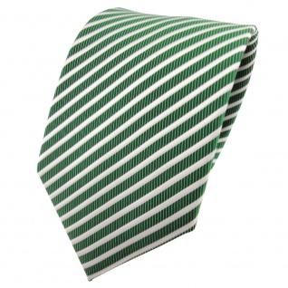 TigerTie Satin Krawatte grün smaragdgrün silber weiß gestreift - Binder Schlips