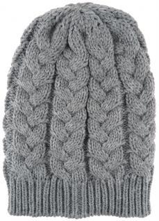 Strickmütze in grau Uni - Wintermütze Mützengröße ca. Höhe 27 cm x Breite 20 cm