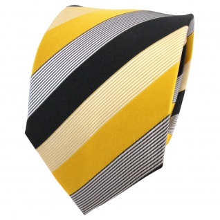 TigerTie Designer Seidenkrawatte gelb anthrazit schwarz weiß gestreift