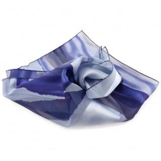 Feines Damen Satin Nickituch blau hellblau gestreift- Tuch Halstuch Schal