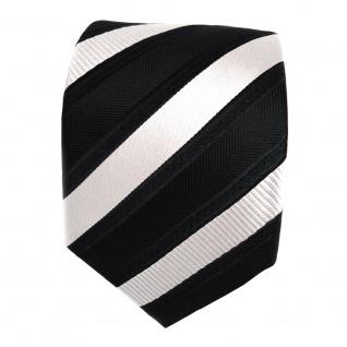 TigerTie Designer Krawatte - Schlips Binder schwarz silber gestreift - Tie - Vorschau 2