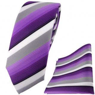 schmale TigerTie Krawatte + Einstecktuch in lila violett grau weiss gestreift