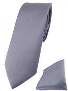 schmale TigerTie Designer Krawatte + Einstecktuch in silber einfarbig uni