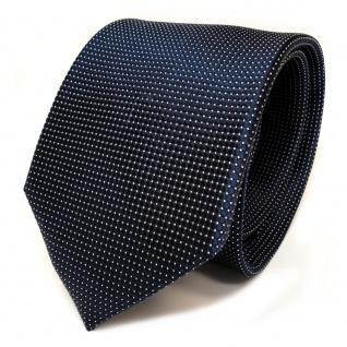 TigerTie Designer Seidenkrawatte blau stahlblau dunkelblau silber gepunktet