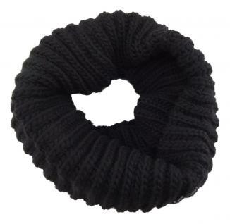 TigerTie Loop Schal schwarz einfarbig - Rundschal Grobstick Rippen-Optik