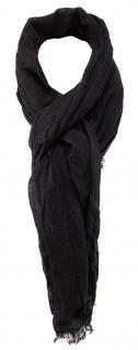 TigerTie Schal in dunkelbraun einfarbig mit Fransen - Gr. 180 x 100 cm