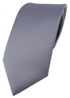 TigerTie Designer Krawatte in silber einfarbig Uni - Tie Schlips
