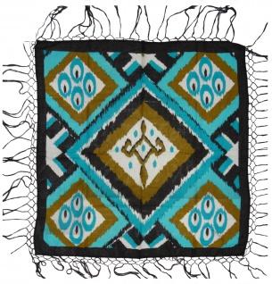 Halstuch in türkis braun weissgrau schwarz gemustert mit langen Fransen