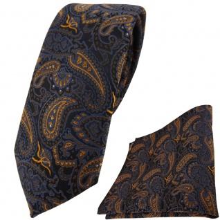 schmale TigerTie Krawatte + Einstecktuch braun bronze gold blau schwarz Paisley