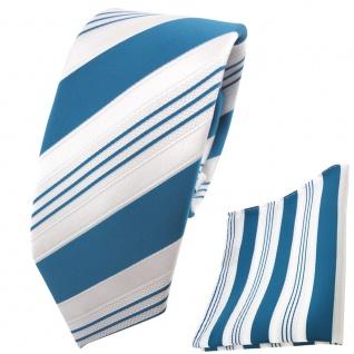 schmale TigerTie Krawatte + Einstecktuch türkis ozeanblau weiß gestreift