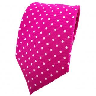 TigerTie Krawatte magenta fuchsia silber gepunktet - Binder Tie