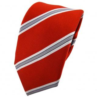 Enrico Sarto Seidenkrawatte orange silber grau gestreift - Krawatte Seide Tie