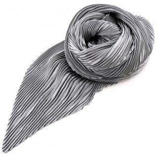 Damen Satin Raffschal dehnbar grau silber ca. 80 x 70 cm - Tuch Halstuch Schal