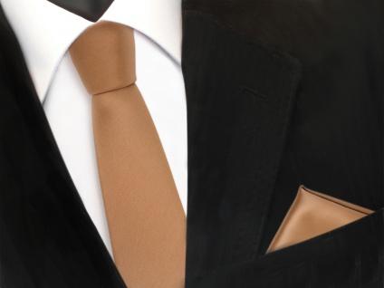 schmale TigerTie Schlips Krawatte + Einstecktuch gold uni Tie Binder Polyester