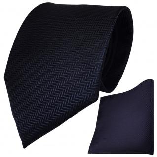 Set TigerTie Designer Krawatte + Einstecktuch in dunkelblau royal gestreift - Vorschau