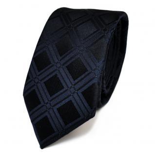 Schmale Designer Seidenkrawatte blau dunkelblau schwarzblau kariert - Krawatte