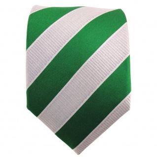 TigerTie Designer Krawatte grün laubgrün silbergrau gestreift - Binder Tie - Vorschau 2