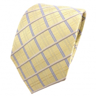 Designer Seidenkrawatte gelb goldgelb grau blau kariert - Krawatte Seide Silk