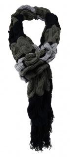 TigerTie Strickschal in grau anthrazit schwarz gemustert mit Fransen