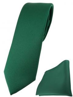 schmale TigerTie Designer Krawatte + Einstecktuch in moosgrün einfarbig uni