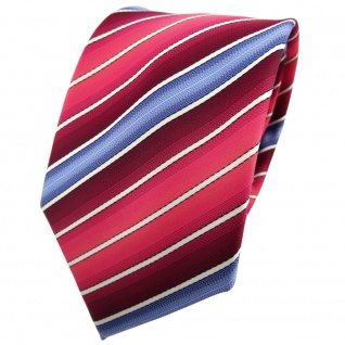 TigerTie Krawatte rot bordeaux rosé blau creme gestreift - Tie Binder - Vorschau 1