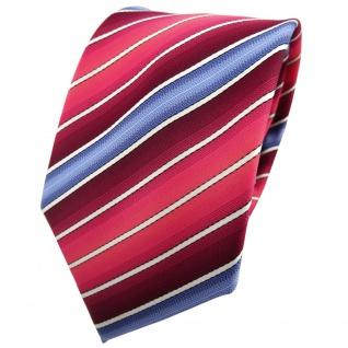 TigerTie Krawatte rot bordeaux rosé blau creme gestreift - Tie Binder