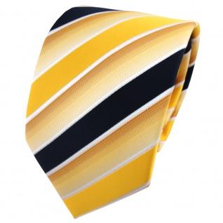 TigerTie Designer Krawatte gelb knallgelb dunkelblau weiß gestreift - Binder Tie