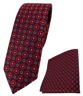 schmale TigerTie Krawatte + Einstecktuch in rot blau silber schwarz gemustert