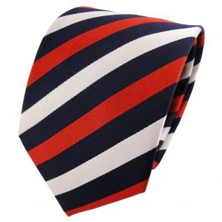 Satin Seidenkrawatte orange rotorange blau silber gestreift - Krawatte Seide Tie
