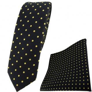 schmale TigerTie Krawatte + Einstecktuch in schwarz gold gepunktet