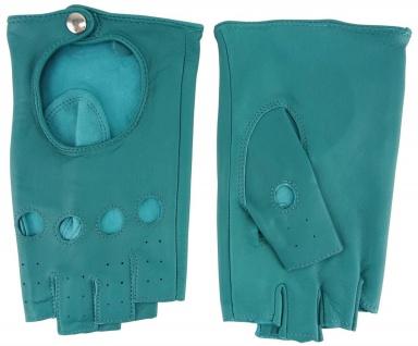 Damen Handschuhe fingerlos - hochwertiges weiches Schafsleder mintgrün - Gr. 7, 5 - Vorschau 2