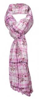 gecrashter Schal in rosa pink bordeaux weiß kariert / geblümt - Gr. 180 x 50 cm